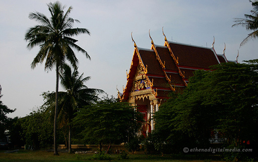 thai buddhist temple in the late afternoon